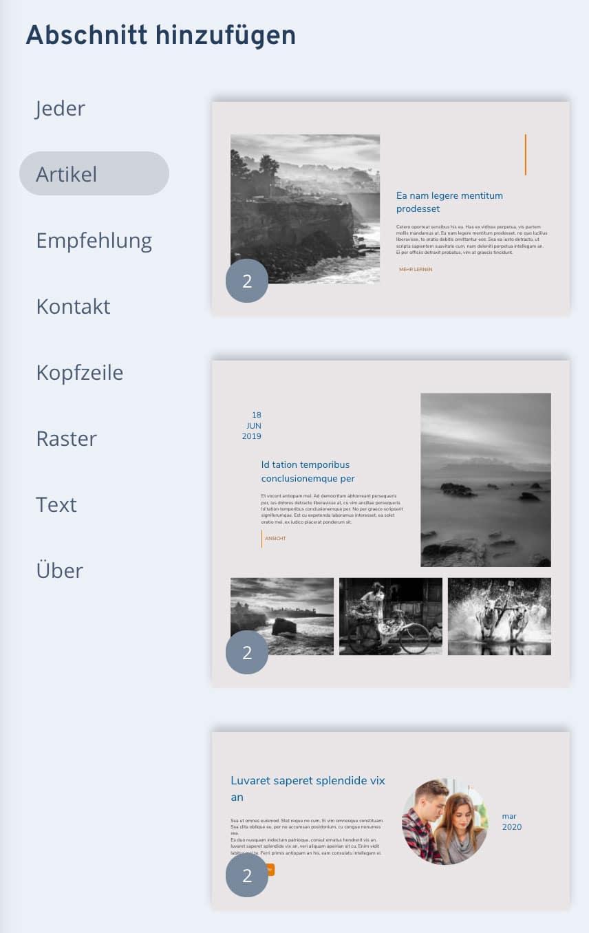 Der IONOS Homepage-Baukasten ist zwar mit einem eigenen Blog ausgestattet, die Funktion ist jedoch nicht wirklich gut
