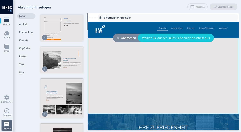 Der Drag & Drop Editor des IONOS Homepage Baukastens ist wirklich intutitiv und leicht zu bedienen