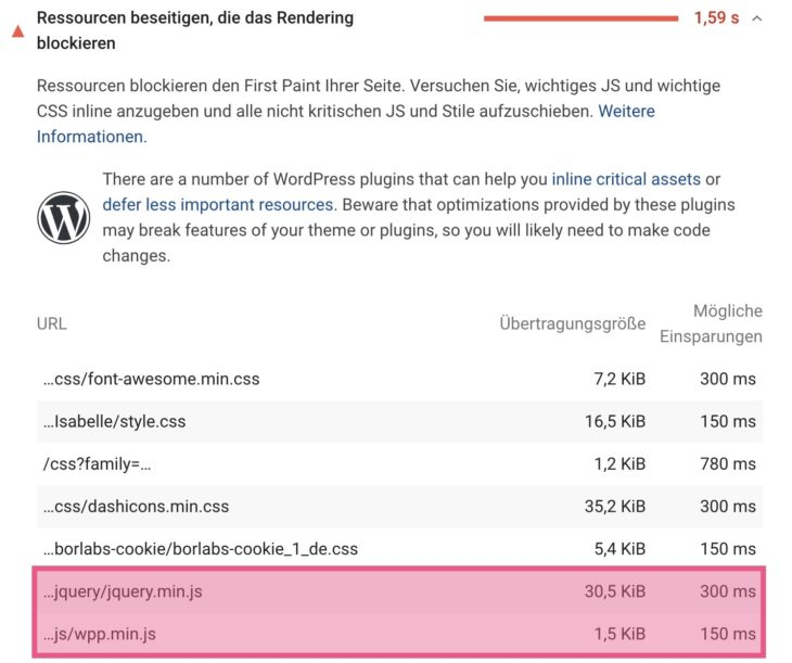 JavaScript Ressourcen beseitigen die das Rendering blockieren