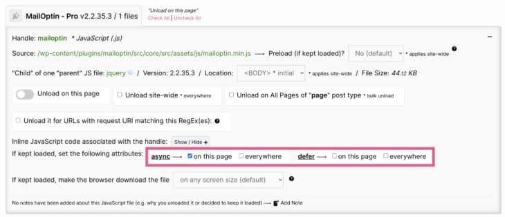 JavaScript verzögert laden mit Asset Cleanup Pro