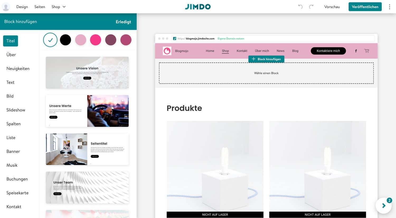 Der Jimdo Drag-and-Drop-Editor ist simpel und minimalistisch konzipiert