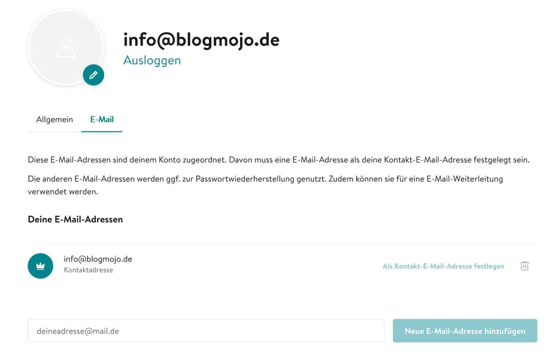Du kannst bei Jimdo eine E-Mail-Adresse passend zu deiner Domain erstellen