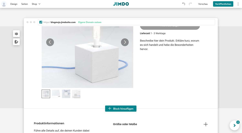 Du kannst bei Jimdo schnell und einfach Produkte für deinen Shop anlegen