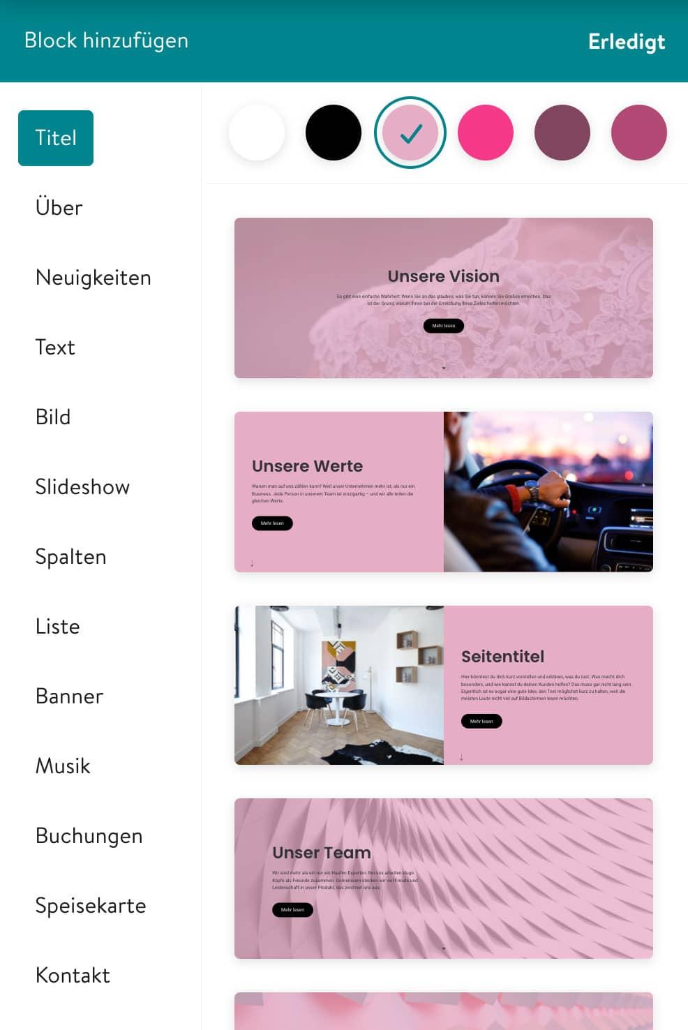 Der Jimdo Homepage-Baukasten arbeitet mit zahlreichen vorgeferitgten Widgets