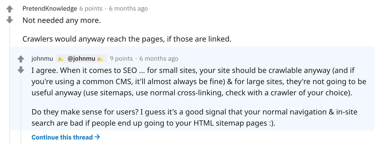 Glaubt man John Mueller, spielen HTML-Sitemaps keine Rolle für SEO