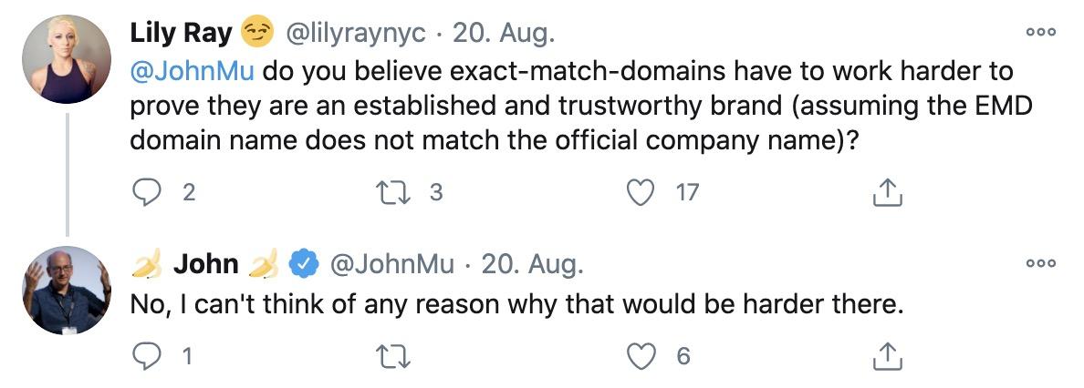 John Mueller auf Twitter über EMDs