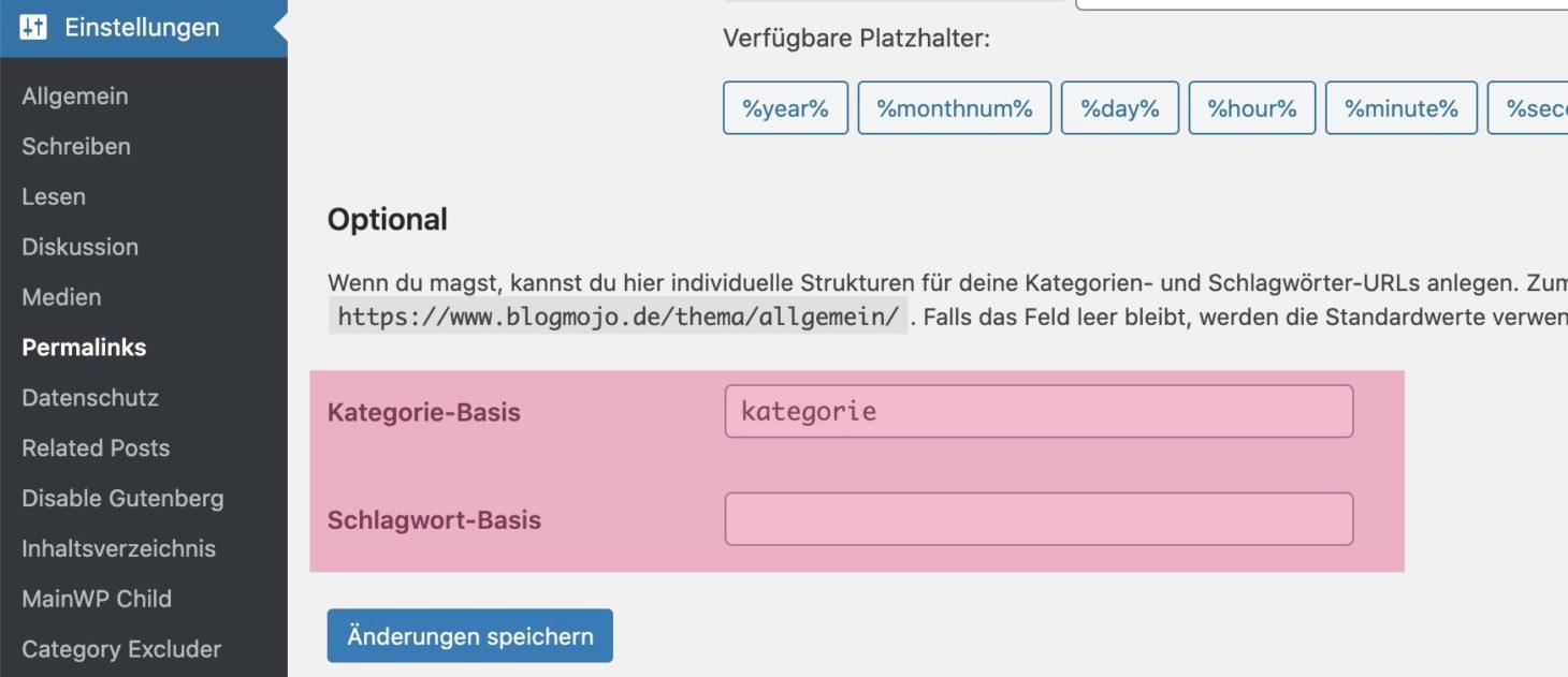 Kategorie- und Schlagwort-Basis überprüfen