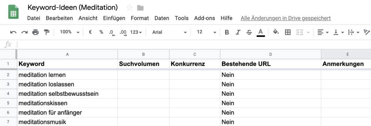 Keyword-Ideen in Excel-Dokument oder Google Tabellen sammeln