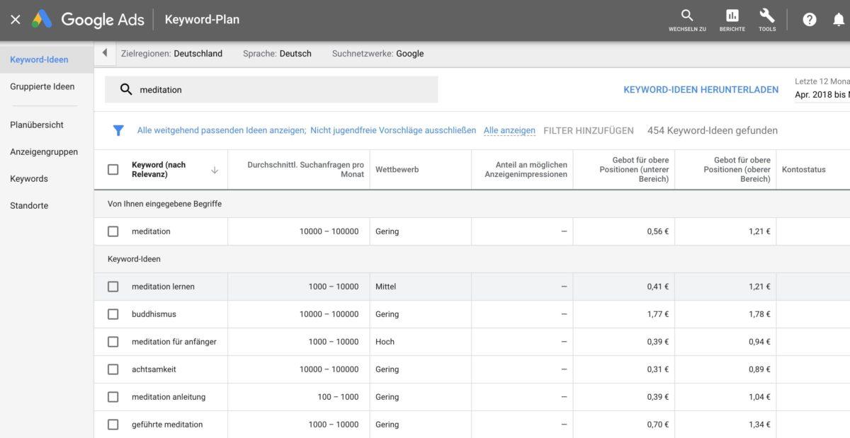 Keyword-Ideen mit dem Google Ads Keyword-Planer finden, filtern und herunterladen