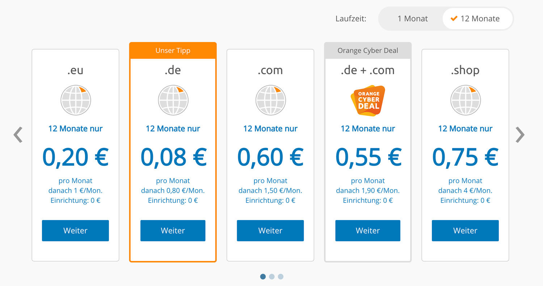 Die Kosten für eine Domain bei Strato sind wirklich sehr überschaubar