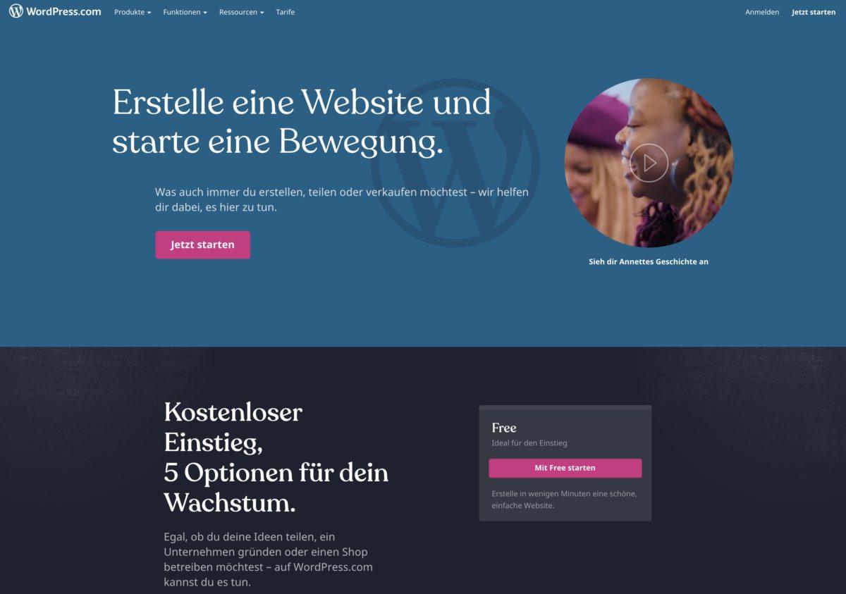 Kostenlosen Blog erstellen mit WordPress.com