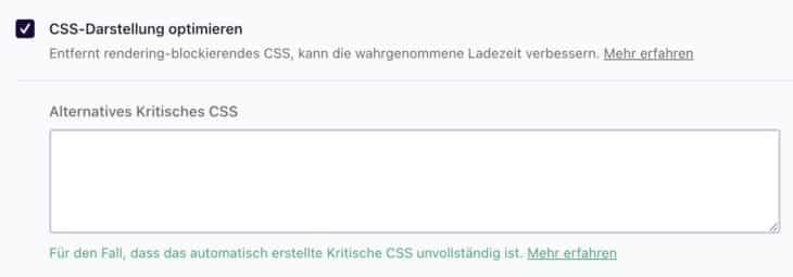 Kritisches CSS mit WP Rocket generieren