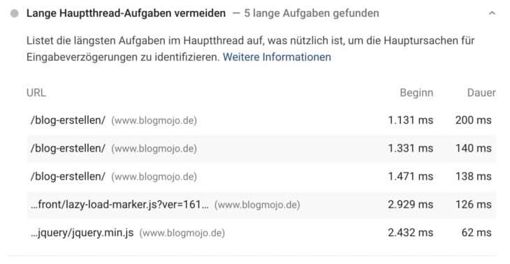 Lange Hauptthread-Aufgaben vermeiden in PageSpeed Insights