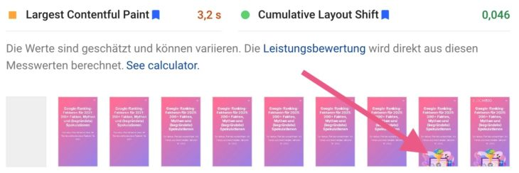 LCP mit Lazy Loading