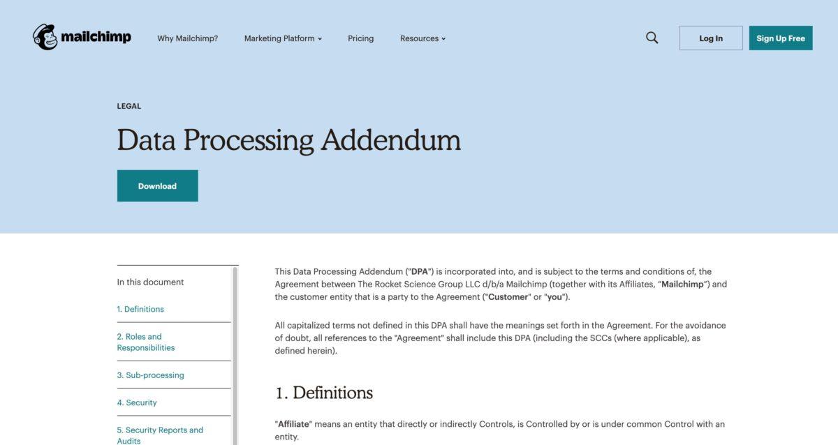 Data Processing Addendum in den AGB von MailChimp