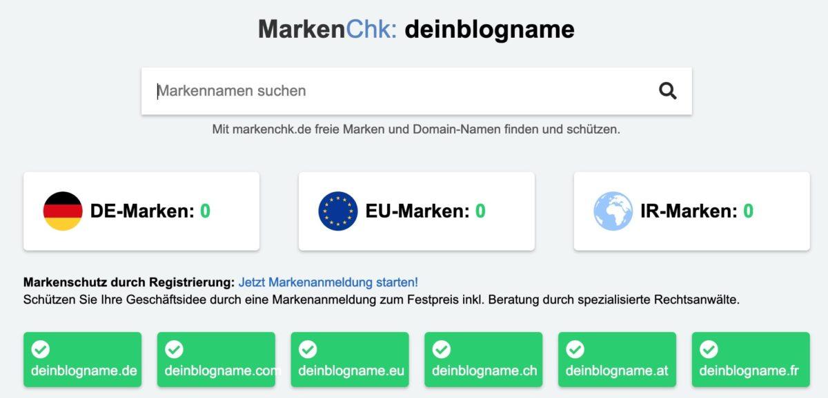 Markenrecherche für Blognamen mit MarkenChk