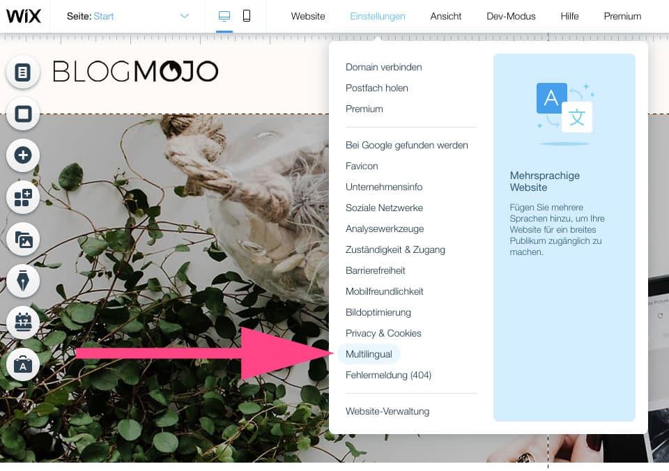 Bei Wix kannst du mühelos eine mehrsprachige Website erstellen