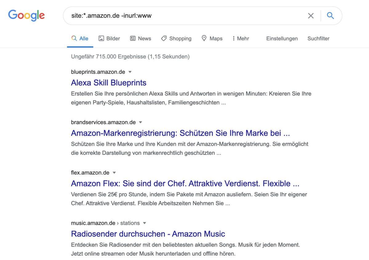 Mit Google-Suchoperatoren Subdomain finden
