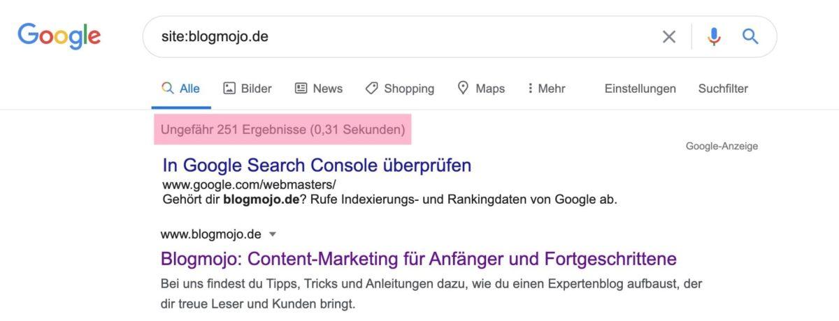 Mit site: Operator Anzahl der Suchergebnisse überprüfen