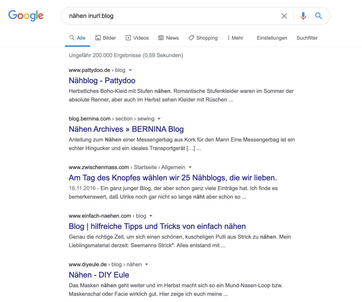 """Mit Suchoperator """"inurl"""" andere Blogs in deiner Nische finden"""