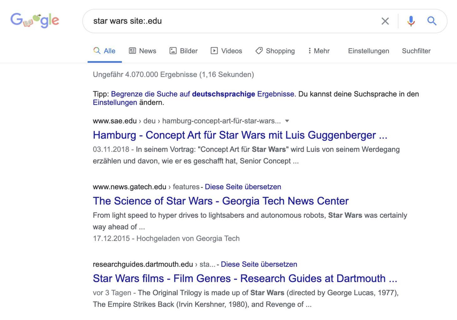 Mit Suchparametern Ergebnisse auf bestimmte TLD einschränken