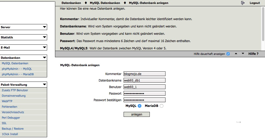 MySQL-Datenbank anlegen
