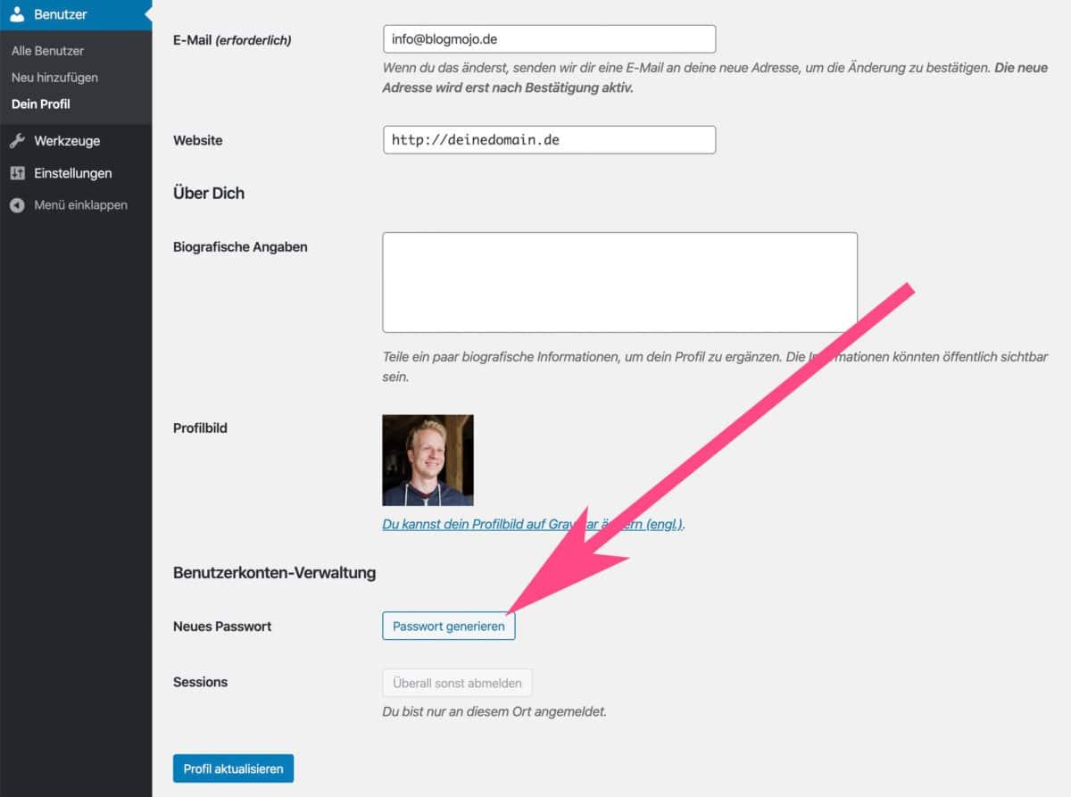 Neues Passwort für WordPress-Benutzer generieren