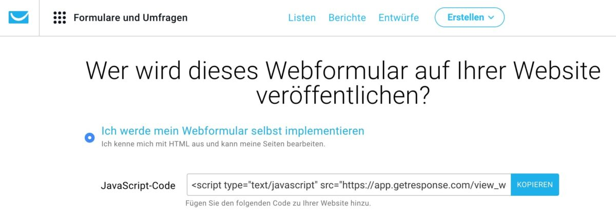 Newsletter-Formular über JavaScript implementieren