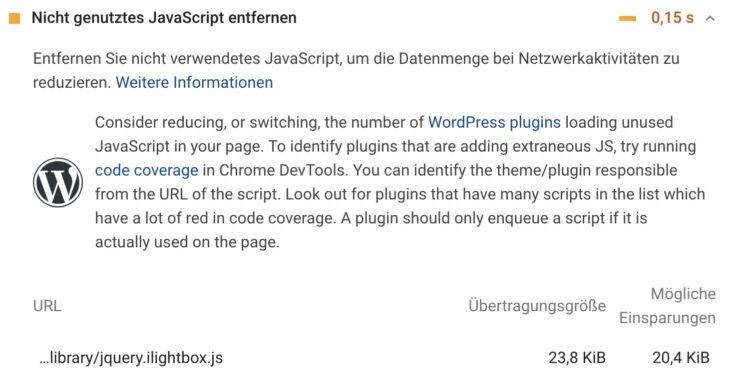 Nicht genutztes JavaScript entfernen