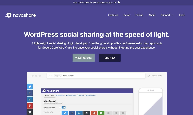 Novashare ist ein schnelles und günstiges Social-Media-Plugin für WordPress.