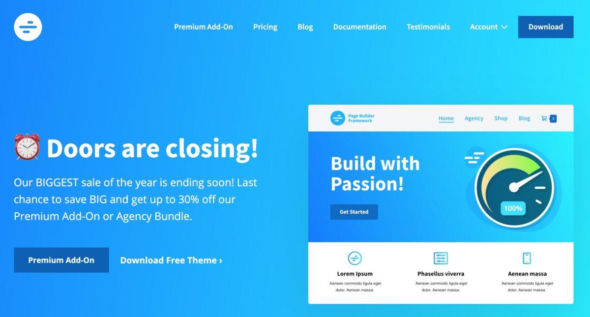 Page Builder Framework Black Friday 2020