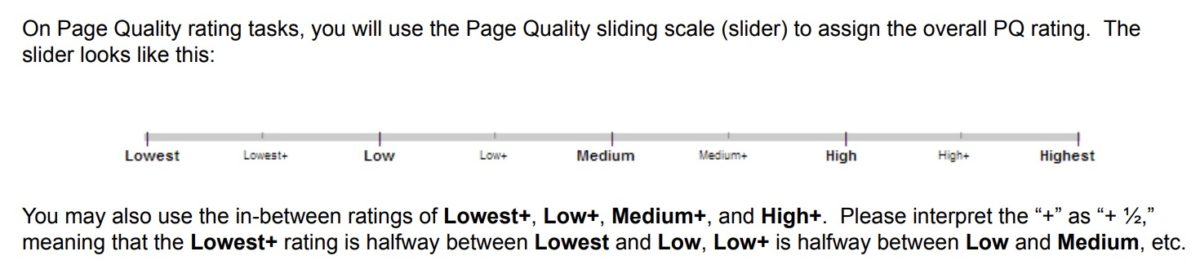 Page Quality Sliding Scale