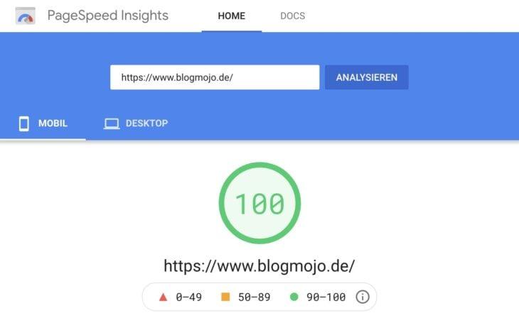 PageSpeed-Score von 100 dank WP Rocket