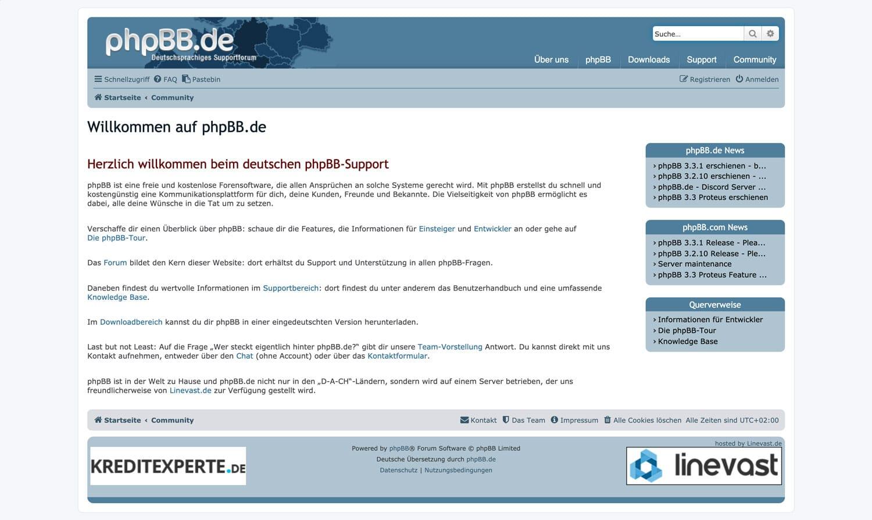 phpBB.de ist eine beliebte deutsche Forensoftware, ide sogar kostenlos ist