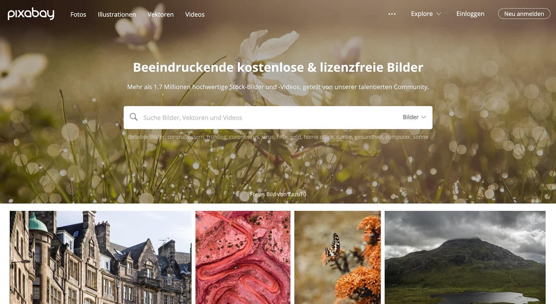Pixabay ist die größte deutsche und kostenlose Bilddatenbank.