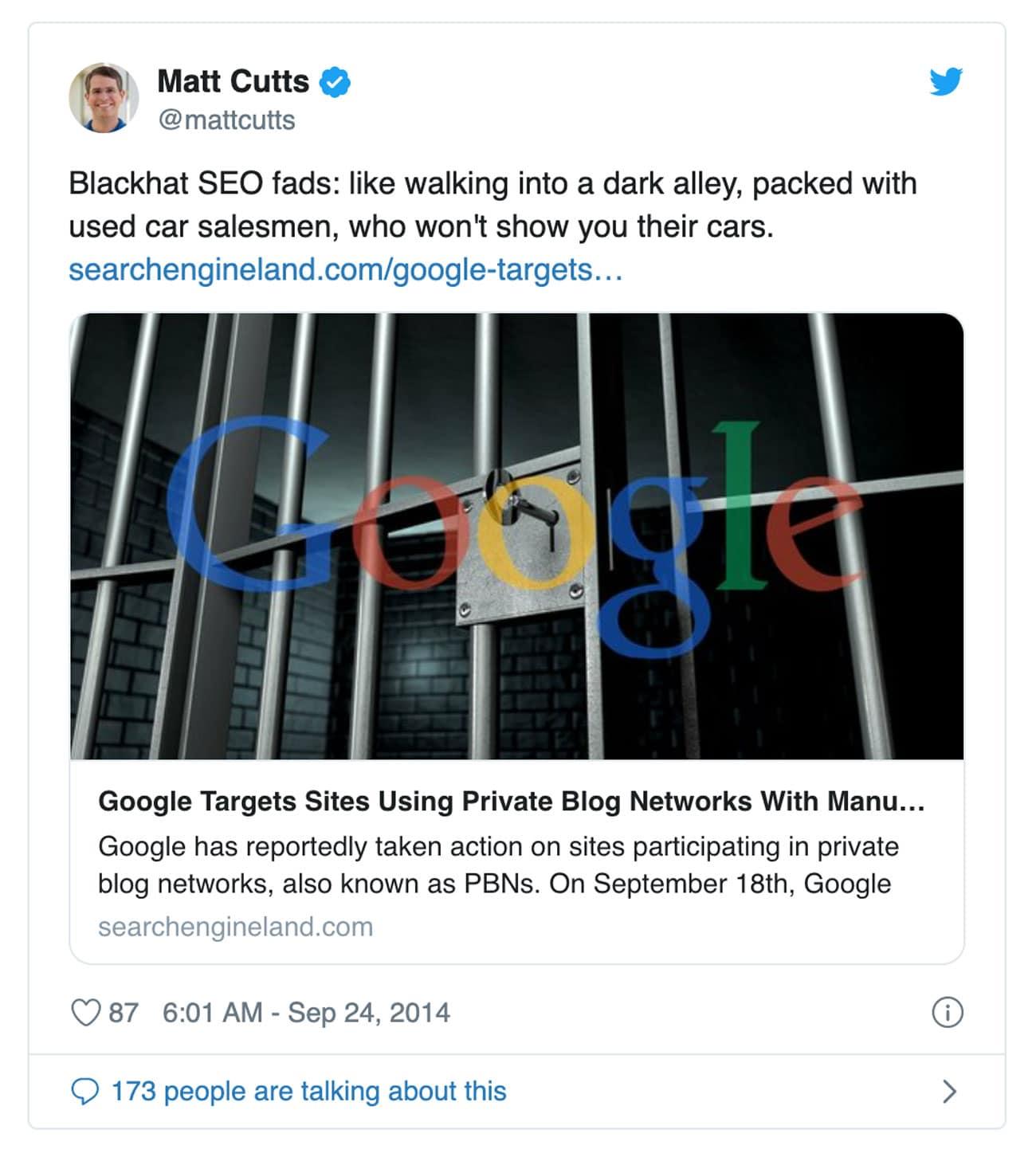 Private Blog Netzwerke sind laut Matt Cutts Blackhat SEO und führen zu negativen Rankings.