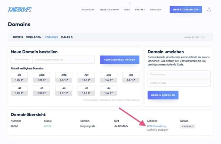DNS-Verwaltung einer Domain bei RAIDBOXES
