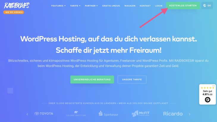 Mit RAIDBOXES kann man eine WordPress-Website erstellen und sie 14 Tage kostenlos testen