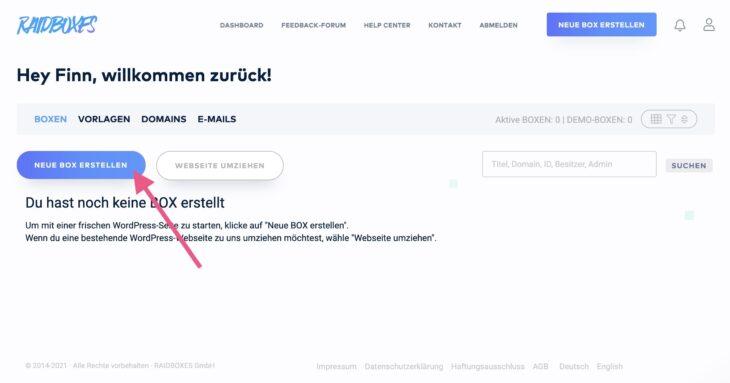 Eine neue BOX (WordPress-Installation) erstellen