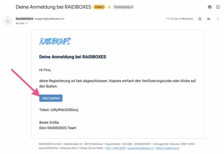 Mit der Verifizierungs-E-Mails die Anmeldung bei RAIDBOXES bestätigen
