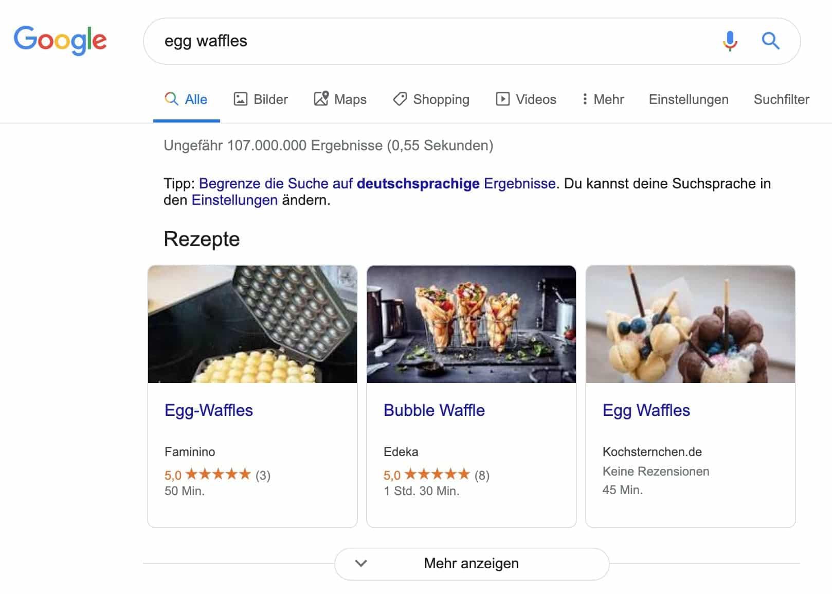 Rezept-Karussell in der Google-Suche