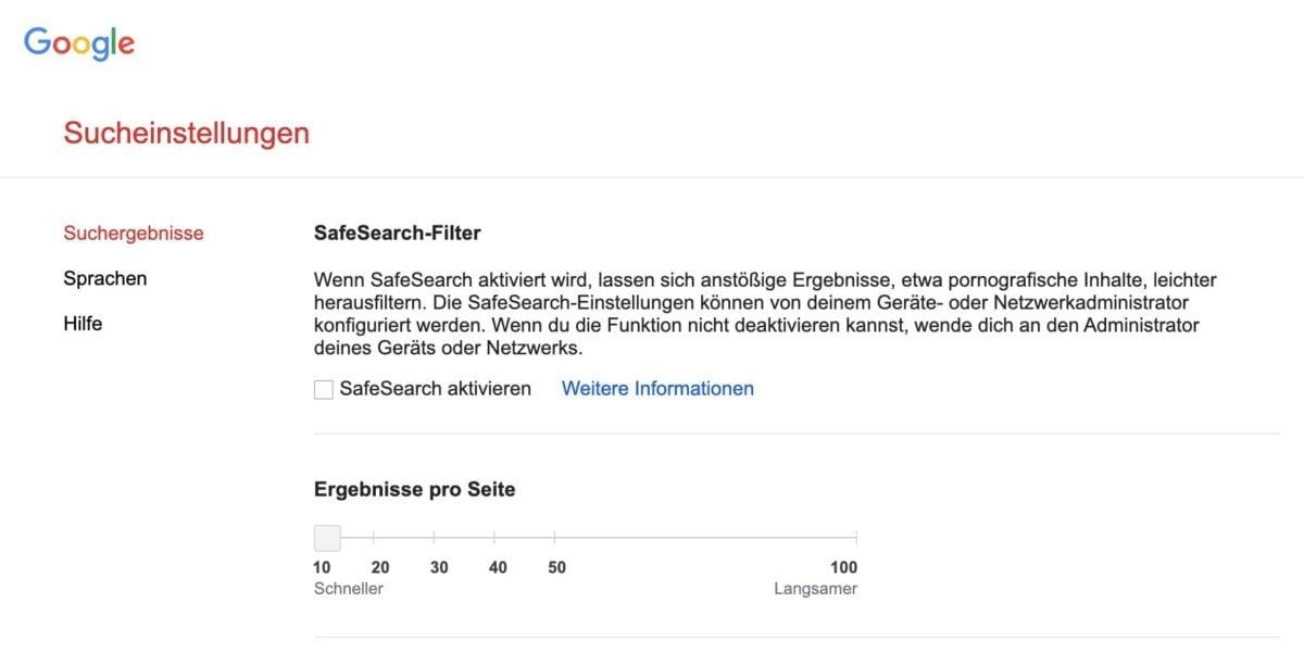 SafeSearch-Filter in den Google-Sucheinstellungen