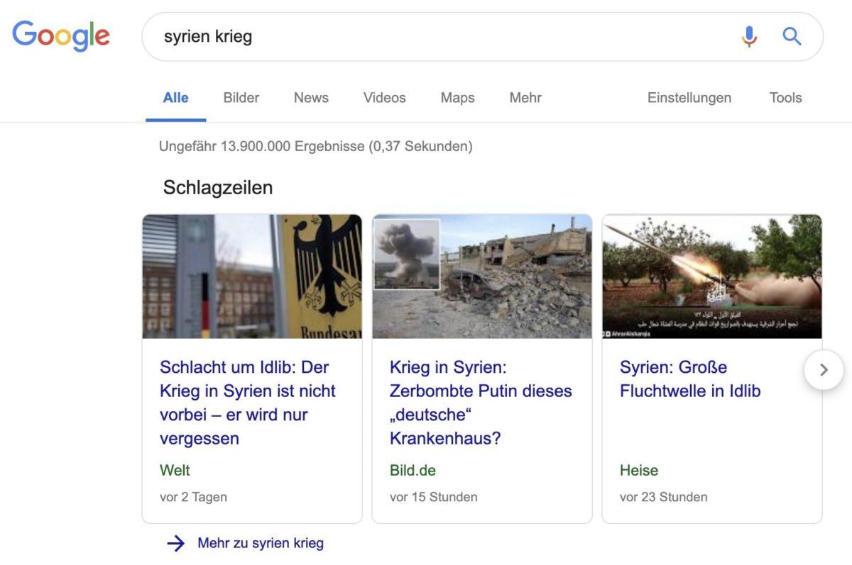 Manchettes sur Google Search