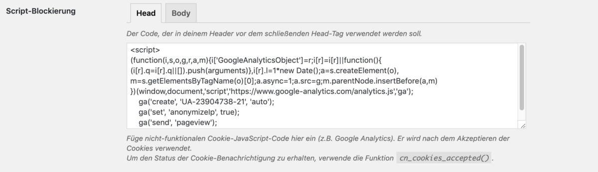 Script-Blockierung bei Cookie Notice for GDPR
