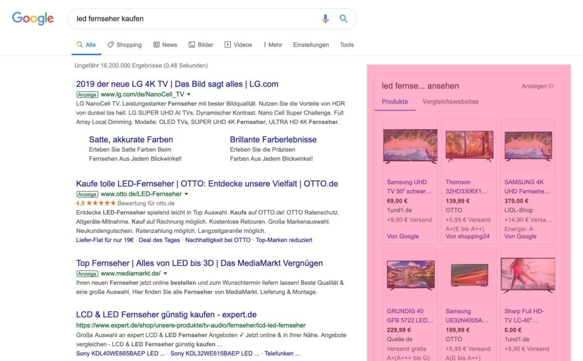 SERP avec Google Shopping Ads à droite