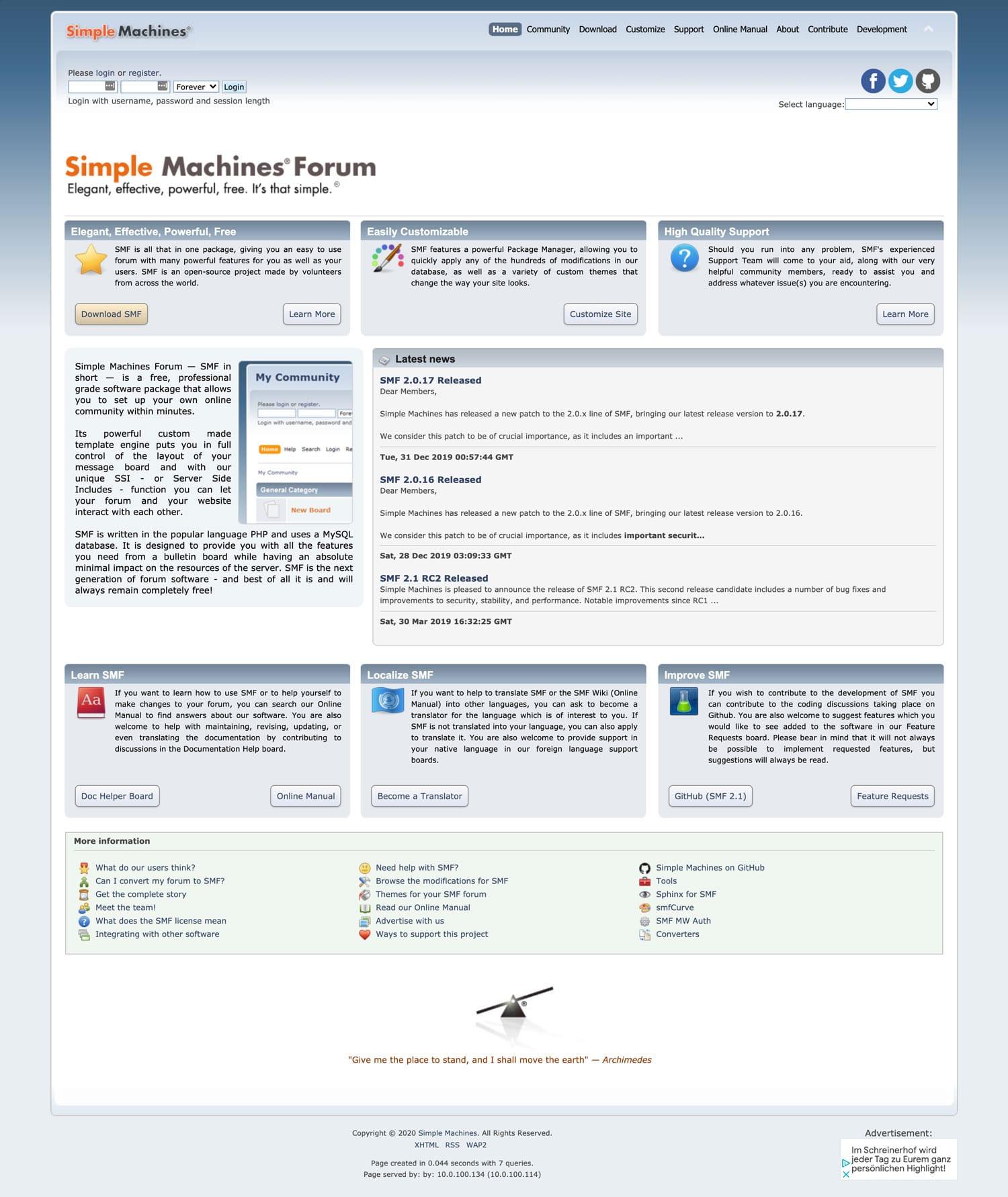 Die Forensoftware Simple Machines Forum ist einfach aber dennoch elegant und effektiv