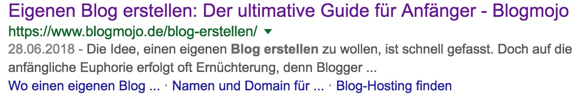 Site-Links in den SERPS
