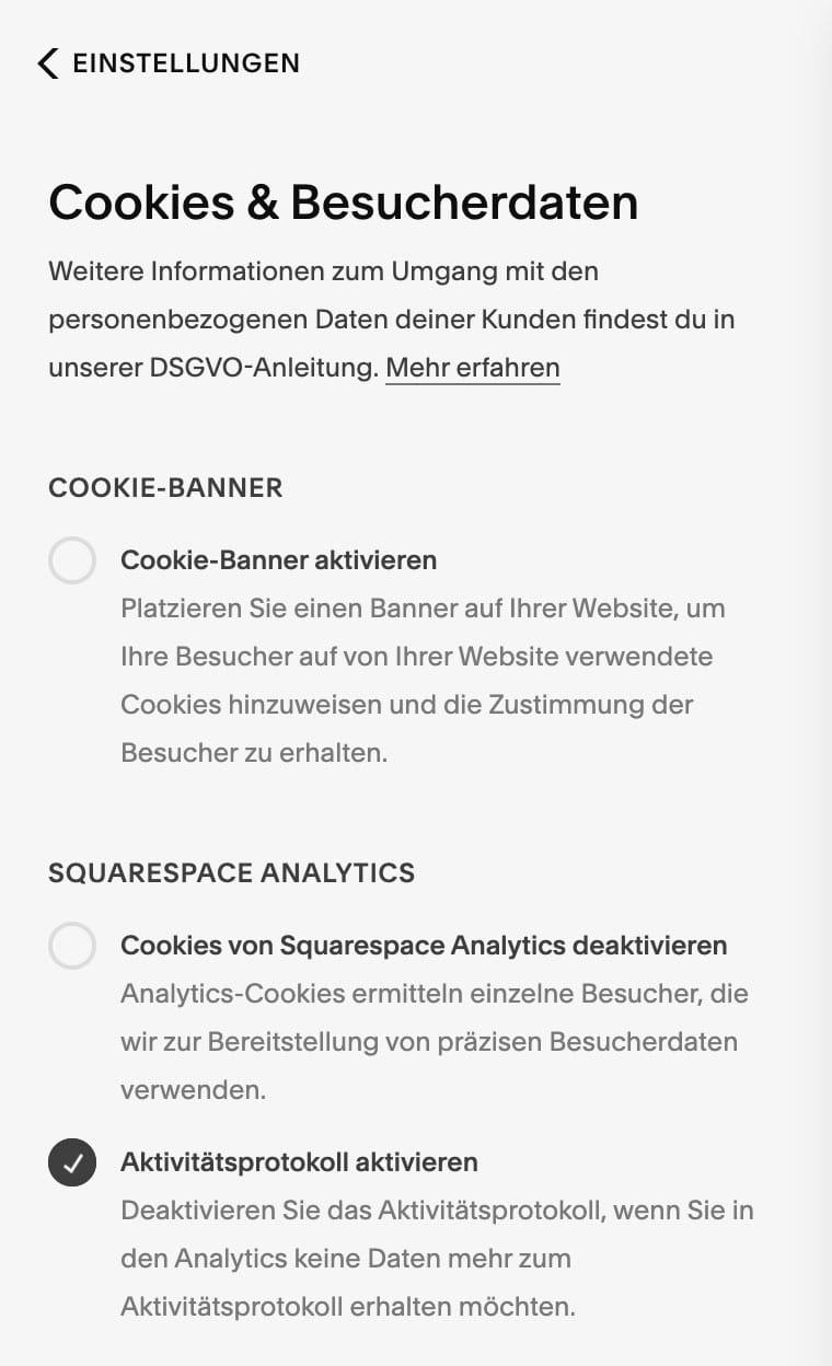 Squarespace bietet dir die Möglichkeit, einen Cookie-Hinweis einzublenden und Cookies zu deaktivieren