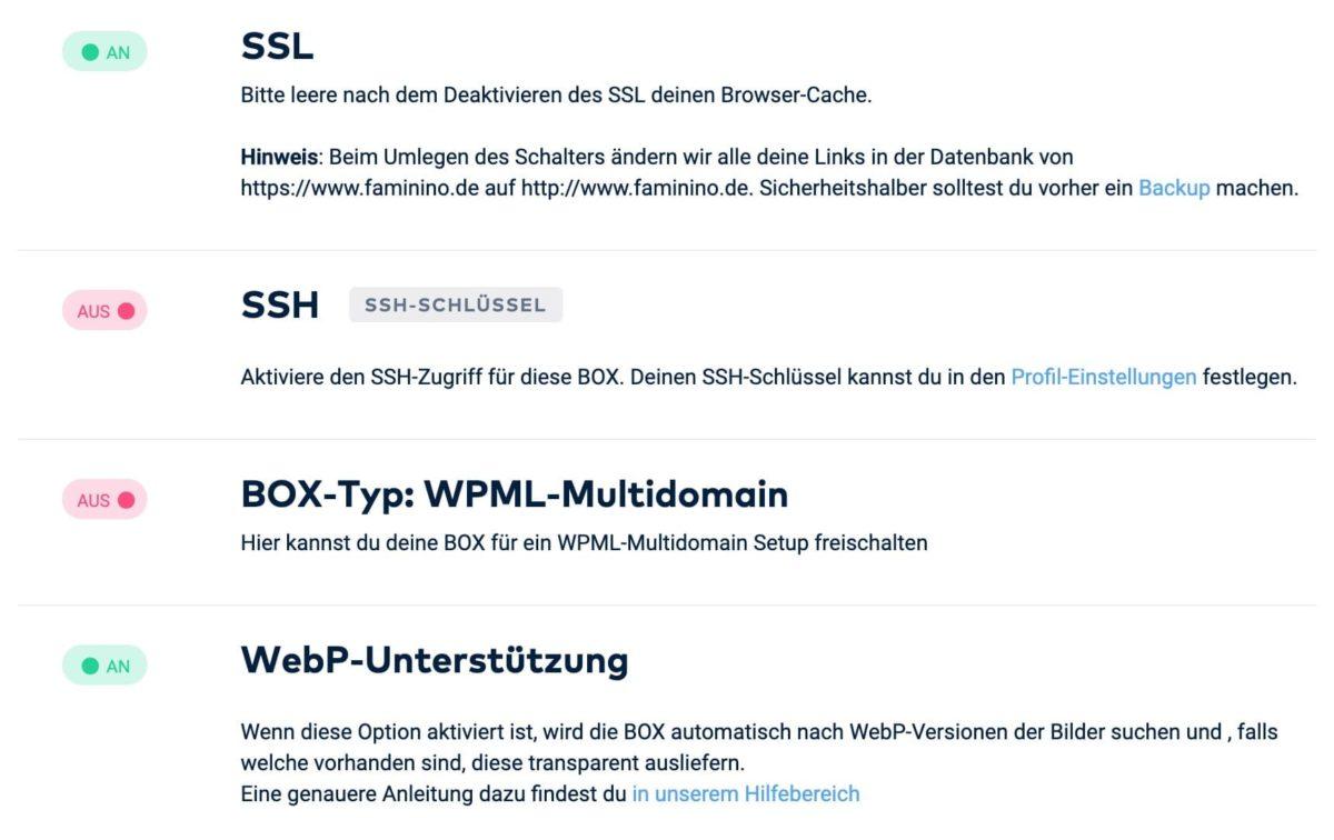 SSL in den Raidboxes-Einstellungen aktivieren