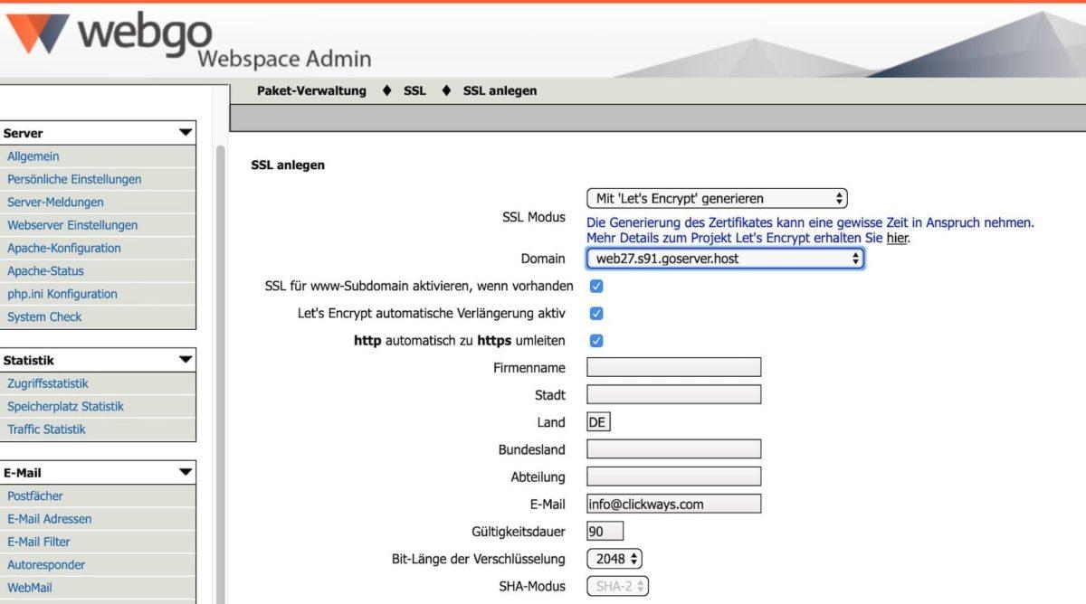 SSL-Zertifikat für die eigene WordPress-Installation bei webgo anlegen